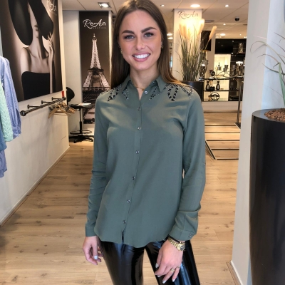 LaNorsa green blouse