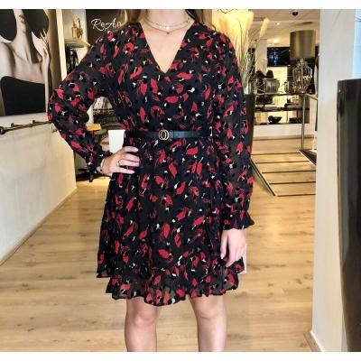 LaNorsa red leaf dress